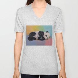 Baby Panda Rainbow Unisex V-Neck