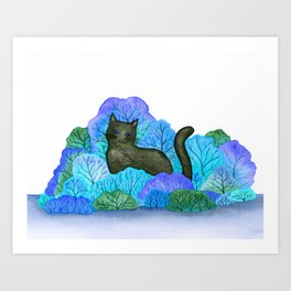 Blue Forest and Black Cat Watercolor Art Print