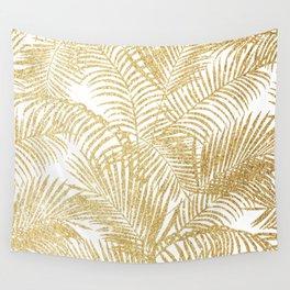 Elegant faux gold glitter tropical plants pattern Wall Tapestry