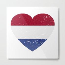 I Love Netherlands Heart  TShirt Football Shirt Soccer Gift Idea Metal Print