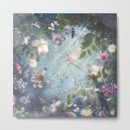 Flowers and Waters in Pale Pink and White Metal Print
