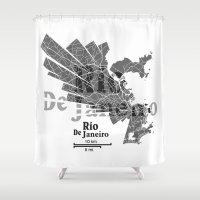 rio de janeiro Shower Curtains featuring Rio De Janeiro Map by Shirt Urbanization
