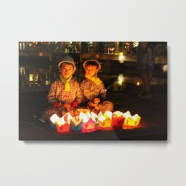children with paper lanterns Metal Print