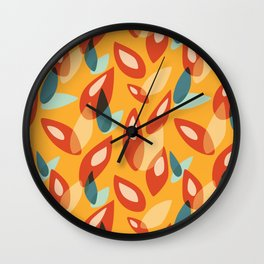 Orange Blue Yellow Abstract Autumn Leaves Pattern Wall Clock