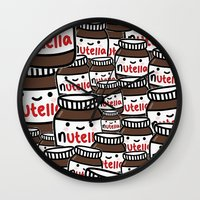 nutella Wall Clocks featuring Nutella Love by Pink Berry Patterns