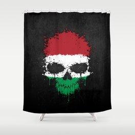 Flag of Hungary on a Chaotic Splatter Skull Shower Curtain