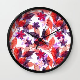 Red, or purple flowers and branches on a white background. Wall Clock