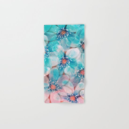 Flowers from Pink to Turquoise Hand & Bath Towel