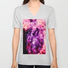 galaxy. Pink Fuchsia  Unisex V-Neck