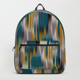 abstract ikat in dark teal and olive Backpack