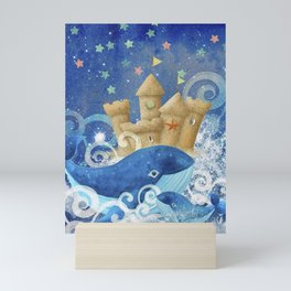 Sandcastle Waves Whales Mini Art Print