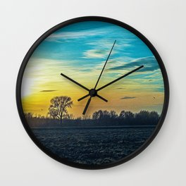 Sunset in the Ticino river natural park during fall Wall Clock