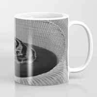 sofa Mugs featuring sleeping cat on sofa by gzm_guvenc