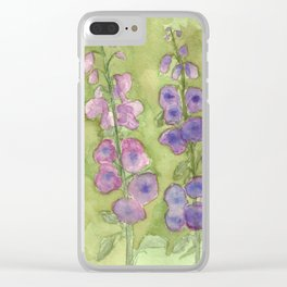 Hollyhock Foxglove Watercolor Muted Tones Clear iPhone Case