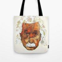 einstein Tote Bags featuring Einstein by Jason Ratliff