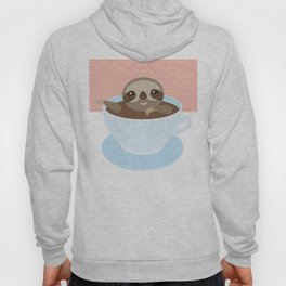 Sloth in a blue cup coffee, tea, Three-toed slot Hoody