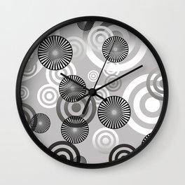 Spiral circles black & white Wall Clock