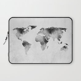 World Map - Hammered Metallic Monochrome Laptop Sleeve