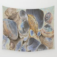 seashell Wall Tapestries featuring Seashell Abstract by Christiane W. Schulze Art and Photograph