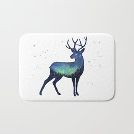 Galaxy Reindeer Silhouette with Northern Lights Bath Mat