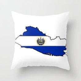 El Salvador Map with Salvadoran Flag Throw Pillow