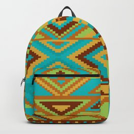 Native Aztec Turquoise Tribal Rug Pattern Backpack
