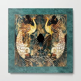 Art Deco Malachite and Gold Peacocks Metal Print