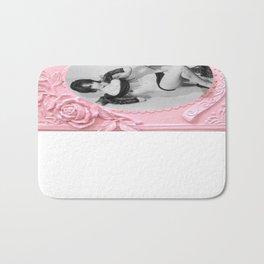 Femme Fatale - Pin Up - Pastel Pink Frame - Roses  Bath Mat