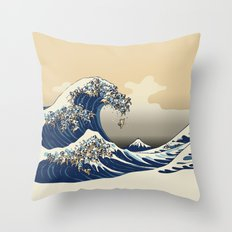 The Great Wave of Pugs Vanilla Sky Throw Pillow