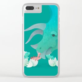 Triceratops Hugs by Ballsy Creative Clear iPhone Case
