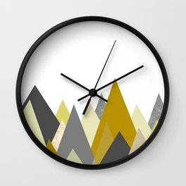 Mountains Mustard yellow Gray Neutral Geometric Wall Clock