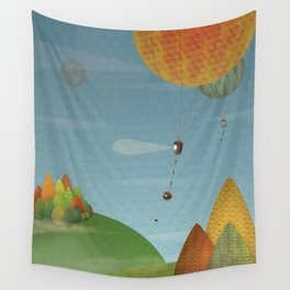 Balloons over the hills Wall Tapestry