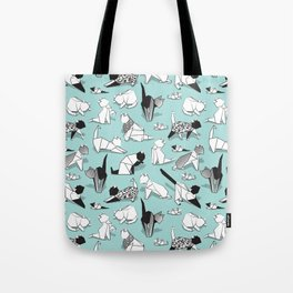 Origami kitten friends // aqua background paper cats Tote Bag