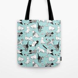 Origami kitten friends // aqua background paper cats Tote Bag