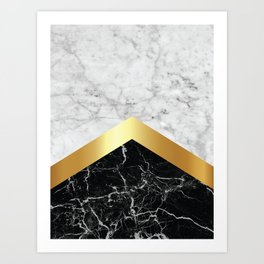 Arrows - White Marble, Gold & Black Granite #147 Art Print