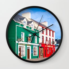 Walking The Colorful Streets Of Dingle Ireland Wall Clock