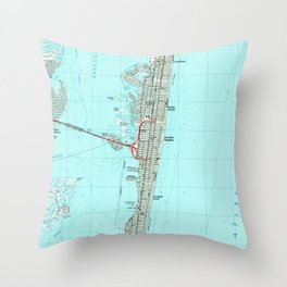 Seaside Park & NJ Shore Map (1989) Throw Pillow