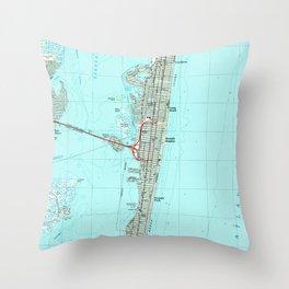 Seaside Park & NJ Shore Map (1989) Throw Pillow