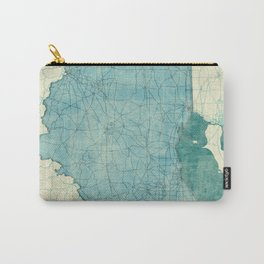 Ohio State Map Blue Vintage Carry-All Pouch