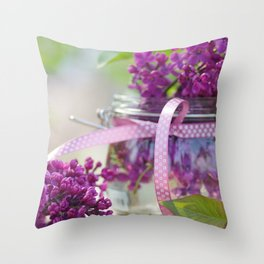 Lilac Spring Still life Throw Pillow
