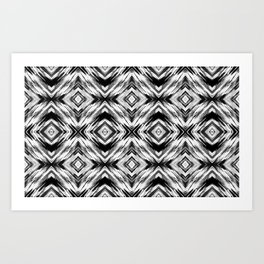 Black and White Multi Media Painted Diamond Pattern // Grayscale Eclectic Modern Trending Art Print