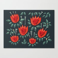 Abstract Red Tulip Floral Pattern Canvas Print
