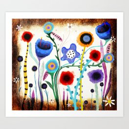 Grungy retro floral burned dusted still life Art Print