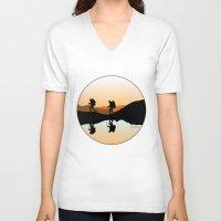 hiking V-neck T-shirts featuring HIKING by Şemsa Bilge (Semsa Fashion)