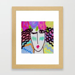 Woman with Roses Abstract Digital Portrait Framed Art Print
