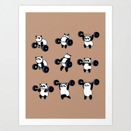 Olympic Lifting Panda Art Print