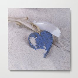 Blue Heart and feather on the Beach Metal Print