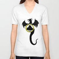 smaug V-neck T-shirts featuring Smaug by Selis Starlight