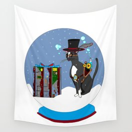A Snow Globe with a Steampunk Kitty Wall Tapestry