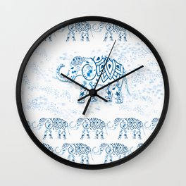 Blue Decorated Indian Elephant Wall Clock